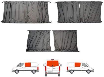Van Demon Cortinas gris a medida LH puerta corredera RH panel lateral y doble puerta trasera Kit de cortina para Mercedes Sprinter (06-17): Amazon.es: Coche y moto