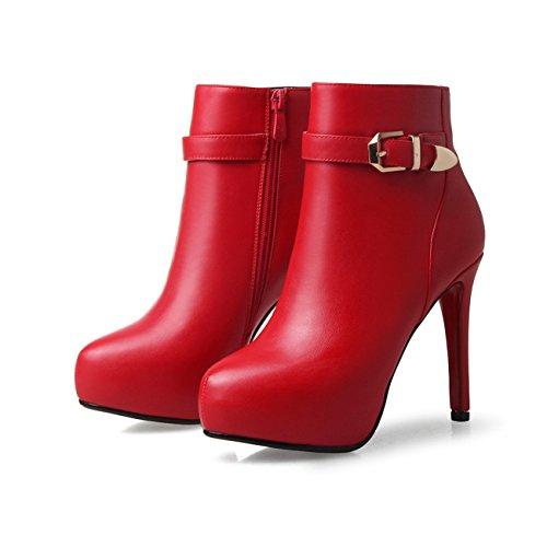Frauen Reizvolle Ferse Spitzschuh Solid Color Plattform Knöchel Schnallen Stiefeletten Rot