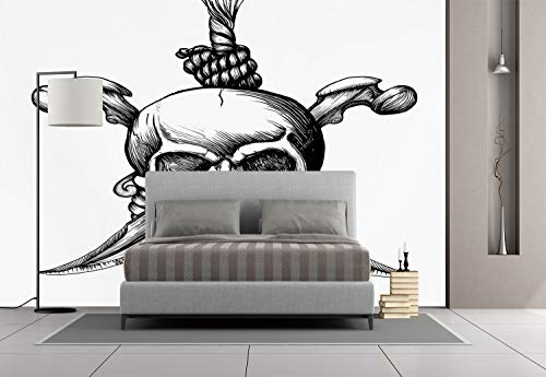 Large Wall Mural Sticker [ Pirate,Jolly Roger Skull with Two Knifes Bones and Hanging Rope Gothic Criminal Halloween Decorative,Black White ] Self-adhesive Vinyl Wallpaper / Removable Modern Decoratin for $<!--$238.99-->