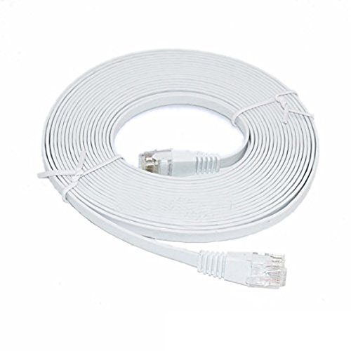 C&E 25 Feet, Premium Ultra CAT6 550 MHz Flat Patch Cable, White 3 Pack, CNE681429 by C&E