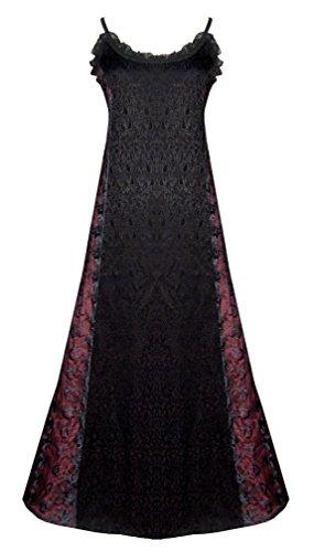 Victorian Valentine Gothic Steampunk Dress Black Burgundy M