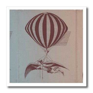 3dRose ht_123713_1 Vintage Man with Wings Hot Air Balloon Iron on Heat Transfer for White Material, 8 by - Photo Gents Hot