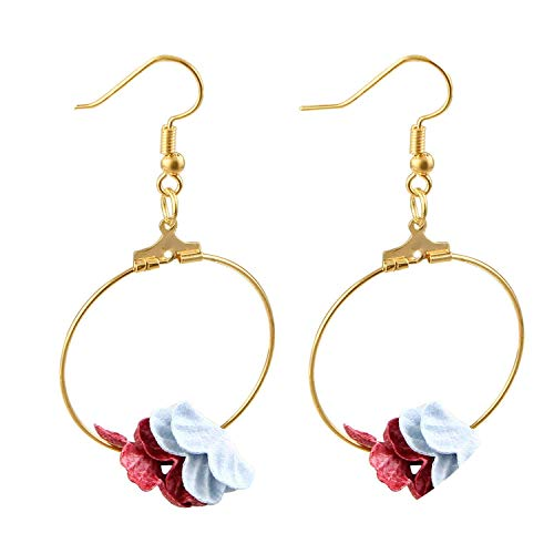 Guy-Sex Faddish Fabric Flower Drop Earrings Colorful Petal Circle Big Fancy Earring