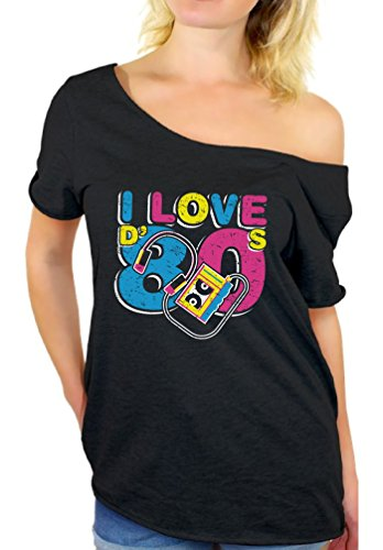 Awkward Styles 80s Tshirt Off Shoulder Neon 80s Outfits for Women 80s Tops Black (Love 80s T-shirts)