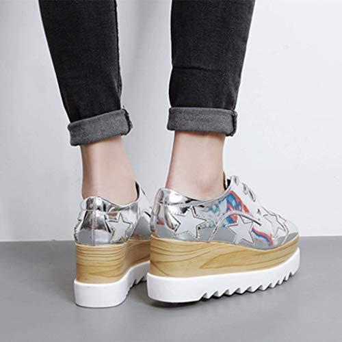 Zapatos Mujeres De Cuadrada Salvaje Las Individuales Ocio 35 Cuña Aumento De Delgado LFF FF Inglaterra Cabeza Dentro Silver pBx1qnC6w