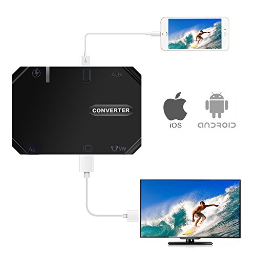 Lightning to HDMI Adapter,3 in 1 VGA Audio Video Multiport Digital AV Adapter,Mirror iOS/Android Phone Screen to TV/Projector/Monitor - Digital App Mirror