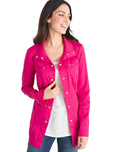 Chico's Women's Luxe Twill Utility Jacket Size 4/6 S (0) Pink