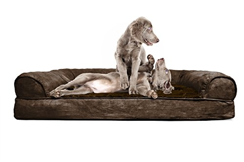 FurHaven Jumbo Plush & Suede Orthopedic Sofa Pet Bed for Dogs and Cats - Espresso
