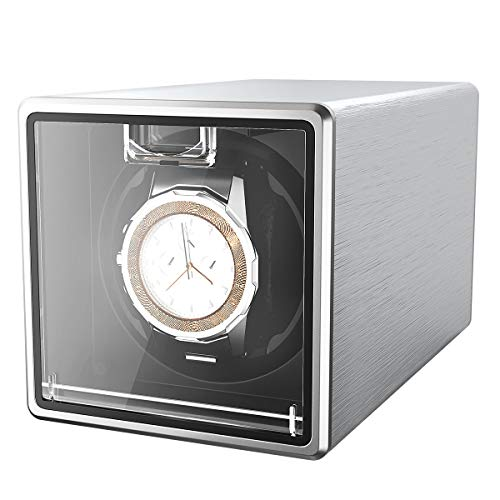 CRITIRON Automatic Watch Winder Case for 1 Watch Rotating Watches Storage Display Box Metal (Silver)
