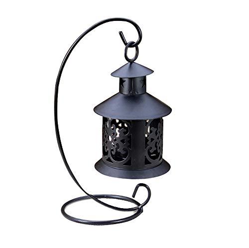 (GXOK Retro Iron Candlestick Lamp Candleholder Light,Tea Light Candlestick Hanging Lantern Vintage Candle Holder Tea Light Holder Candlestick for Party Wedding Ornament (Black))