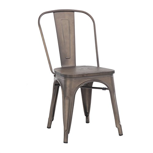 Buschman Store TH-1002C Timber Gun Grey 4 Set of Four Bronze Wooden Seat Tolix-Style Metal Indoor/Outdoor Stackable Chairs with Back, by Buschman Store (Image #3)