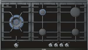 Bosch PRS926B70E hobs - Placa (Incorporado, Gas, Vidrio y cerámica, Giratorio, 1.5m, 13700W) Negro