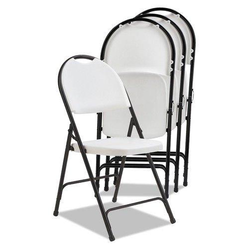 Alera Molded Resin Folding Chair, White/Black Anthracite, 4/Carton ()