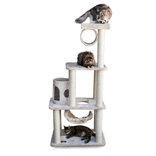 Majestic Pet Products 62 inch Beige Casita Cat Furniture Condo House Scratcher Multi Level Pet Activity Tree ()