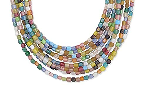 Multi-Strand, Multi-Color Glass Bead Layered Bib Necklace, 18 Inches Long Plus 2 Inch Extender - Green Murano Glass Pendant