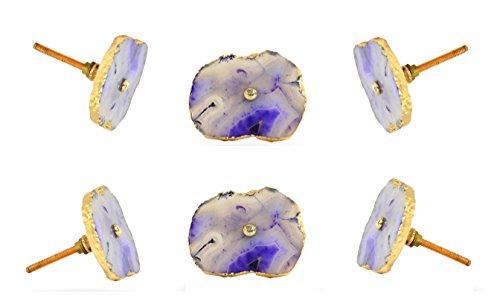 (Set of 6 Barbarella Agate Cabinet Knobs with Brass Hardware Purple Kitchen Cupboard Door Knob Dressser Wardrobe and Drawer Pull By Trinca-Ferro)