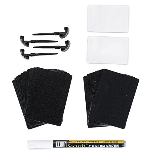 American Metalcraft TAGA8WT 3'' x 2'' Mini Chalk Cards and Marker Display Kit - 20/Pack by American Metalcraft