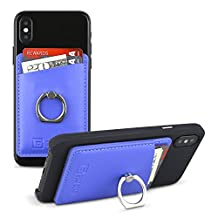 Gear Beast Smart Phone Wallet Card Case with Ring Grip Stand for Apple iPhone iPad Samsung Galaxy and Almost All Cases and Phones, Slim Stick On Card ID Holder Wallet for Men and Women (Blue)