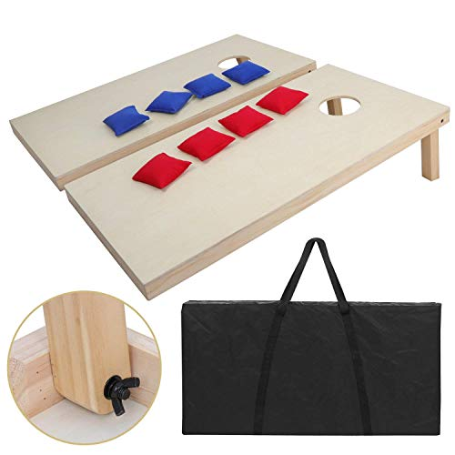 Less Decal Set - F2C Portable Aluminum/Wooden/PVC Framed Bean Bag Cornhole Toss Game Set Boards 3FT 2FT/4FT 2FT W/ 8 Bean Bags and Carrying Case| Original Black, Classic Red& Blue to Choose (4FT2FT Wooden)