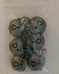 """6 Pack Oakland Raiders 2017 NFL Helmet Mini Football 2"""" Inch Helmets. Complete Team Logo Cake Toppers Party Favors. Collectible Gumball Vending Toy New in Bag. Pencil Cap."""