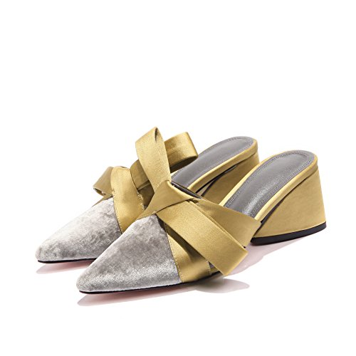 gruesas six Baotou zapatillas con fuerte tacón temperamento tacón alto Joker 2018 de finas Thirty de 36 nuevas Golden y mujeres punto Sandalias Donyyyy SqPABB