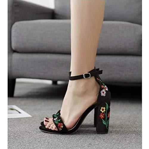 Femme ZFAFA Bout Daim 37 épais Chaussures Dentelle Femmes Boucle Talon Sandales Talon Ouvert Haut 66HPF