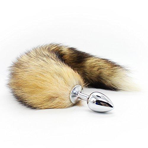 AKStore Medium Stainless Steel Anal Plug with Soft Wild Fox Tail plug butt Sex Toys Butt Plug Anal Stimulator for Women