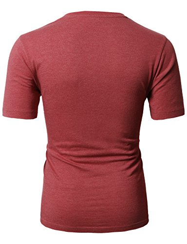 H2H Mens Business & Daily Item Fine Soft Cotton Crew Neck T-Shirt Maroon US S/Asia M (CMTTS0198) by H2H (Image #3)