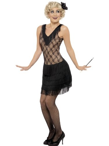 Smiffy's Women's All that Jazz Costume, Dress and Hair piece, 20's Razzle Dazzle, Serious Fun, Size 10-12, 30042