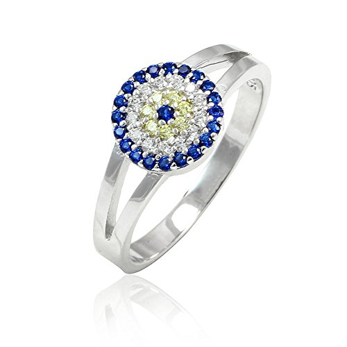 Split Shank Evil Eye Ring Round Simulated Blue Sapphire Round Yellow And Clear CZ 925 Sterling Silver, (Split Shank Ring)