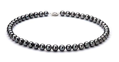 Noir 7.5-8.5mm AA-qualité perles d'eau douce 925/1000 Argent-un set en perles
