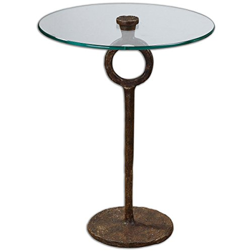 Uttermost Metal Pedestal (Uttermost 24336 Diogo Glass Accent Table)