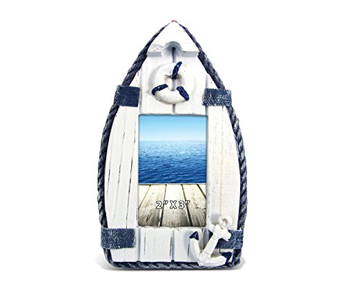 Puzzled Wooden Blue Sailboat Picture Frame, 2 x 3 Inch Sculptural Wood Photo Holder Intricate & Meticulous Detailing Art Handcrafted Tabletop Accent Accessory Coastal Nautical Themed Home Décor
