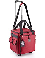 Rolling Serger Sewing Machine Bag with Universal Wheels,Overlock Machine Carrying Case with YKK zipers, Compatible Most Standard Brother, Singer, Bernina, Organizer Tote for Sewing Thread & Supplies