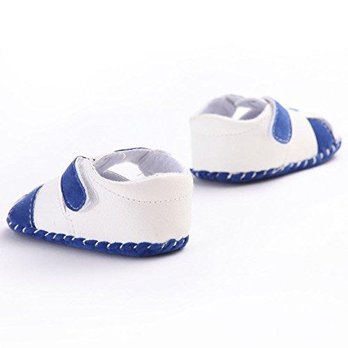 waylongplus bebé Prewalker infantil antideslizante suave de bebé Zapatillas Zapatos blanco roto blanco Talla:13 (12-18 Months) azul-blanco