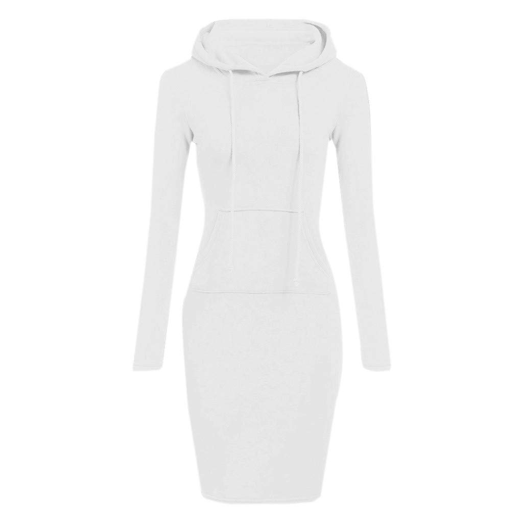 TOPUNDER Pullover Pocket Knee Length Slim Hoodie Dresses Casual Sweatshirt Dress Women (Small, White)