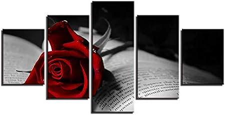 BoLeEr 5 Fotos Impresión Moderna Cuadros Decoración Sala De Estar Pared 5 Piezas Rosa Roja Flor Y Libro Lienzo Pintura Carteles Modulares Arte (NO Frame size 2)