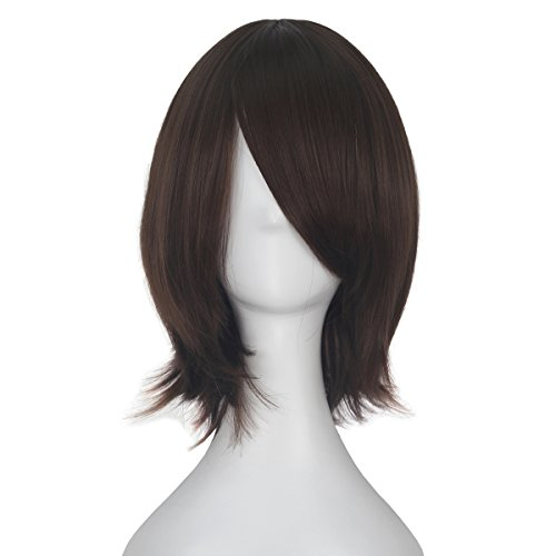 Miss U Hair Unisex Short Straight Wave Hair Adult Kids Party Daily Use Lolita Cosplay Costume Wig Halloween (Chestnut Brown) -