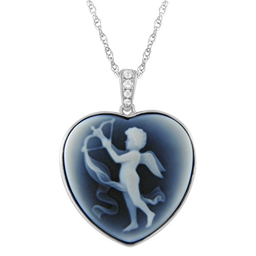 Heart Shape Cupid Agate Cameo and Created White Sapphire Pendant in Silver