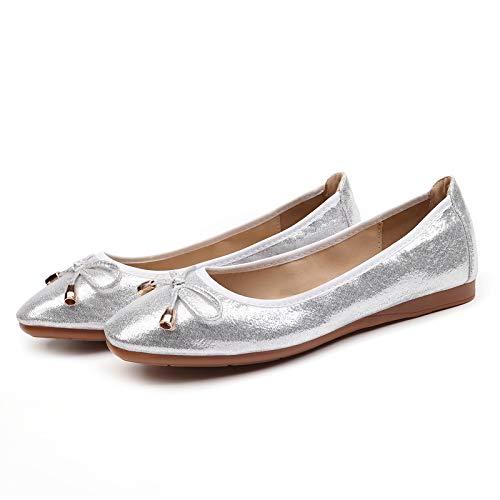 Silver Bolsillo Bolso portátiles Zapatos de Maternidad Zapatos Damas de Plegables Zapatos FLYRCX en su Ballet Zapatos de zInaRZz1q