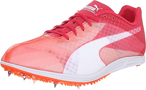 PUMA Women's Evospeed Distance V6 Track Spike Shoe, Fluorescent Peach/Rose Red, 8 B US