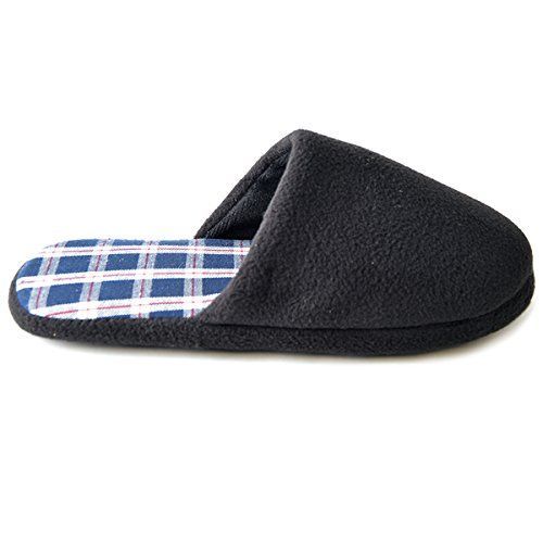 SlumberzzZ Men's Fleece Check Lined Mule Slippers, Black, Size UK 8/9