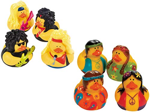 80s Party Favor Rubber Duckies, 48pcs - Hippie Duck & Rock Band Ducks, Retro Throwback 70s Party Decor (Rock Hippie)