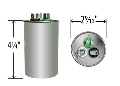 60 + 7.5 uf / Mfd Round Dual Universal Capacitor Replacement Amrad USA2221B Replacement - used for 370 or 440 VAC , Made in the U.S.A.