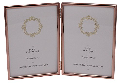 Leadex Double Thin Edge Picture Frame,Rose Gold Plated,Verti