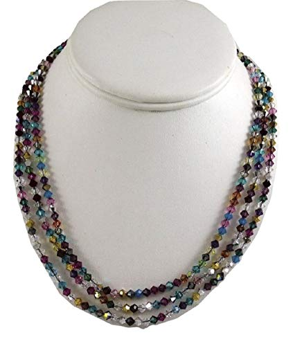 - Multicolor Crystal Triple Strand Necklace with Silver Clasp
