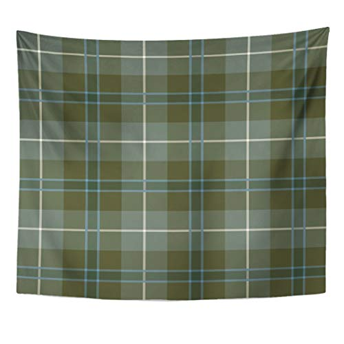 (Semtomn Tapestry Artwork Wall Hanging Gray Clan Douglas Loden Green Reproduction Tartan Plaid Scottish 60x80 Inches Home Decor Tapestries Mattress Tablecloth Curtain Print)