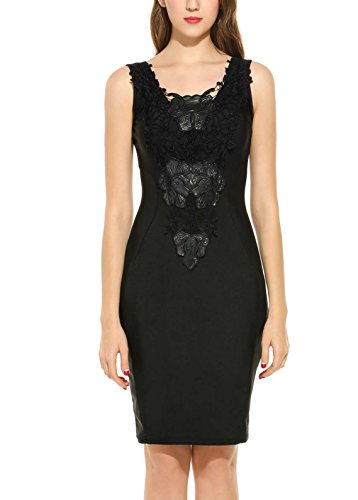 Zeagoo Women's Sleeveless Lace Neck Dress Evening Cocktail Party Dress,Large,Black by Zeagoo (Image #3)