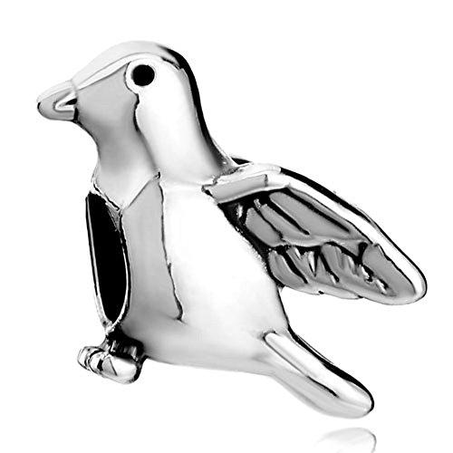 (Pugster Silver Plated Cute Peace Dove Pigeon Animal European Beads Fit Pandora Charm Bracelet)