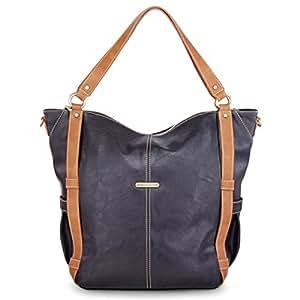 timi & leslie Marcelle 7-Piece Diaper Bag Set, Black/Saddle